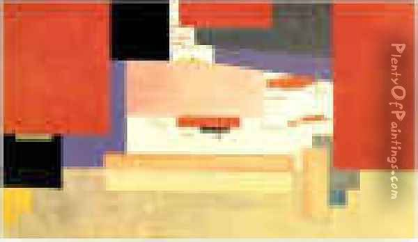 Suprematism Study For A Curtain Oil Painting - Kazimir Severinovich Malevich