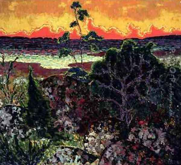 Landscape with a Red Cloud 1913-14 Oil Painting - Konrad Magi