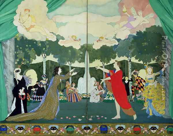 Curtain Design for the 'Free Theatre' in Moscow, 1913 Oil Painting - Konstantin Andreevic Somov