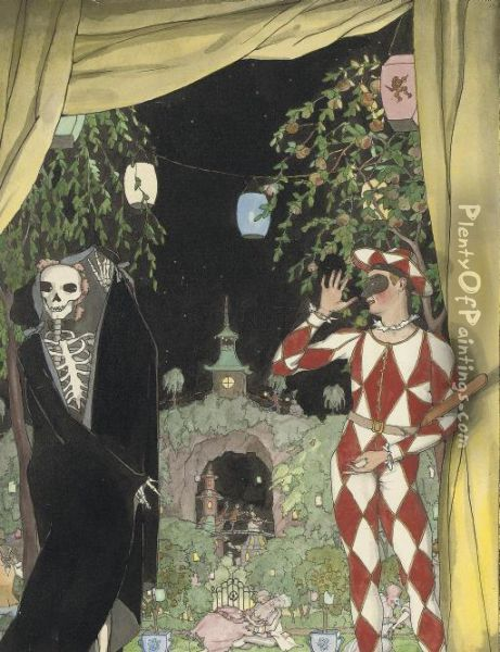 Harlequin And Death Oil Painting - Konstantin Andreevic Somov