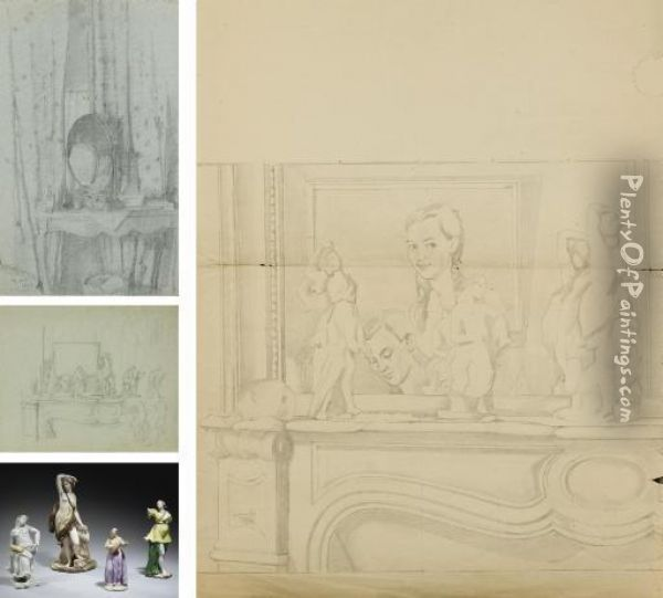 Interior With A Console And  Mirror; Study For 'an Intimate Moment'; Two Sketches For 'self-portrait  With Porcelain Figures On A Mantelpiece' Oil Painting - Konstantin Andreevic Somov