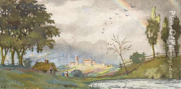 Landscape With Rainbow Oil Painting - Konstantin Andreevic Somov