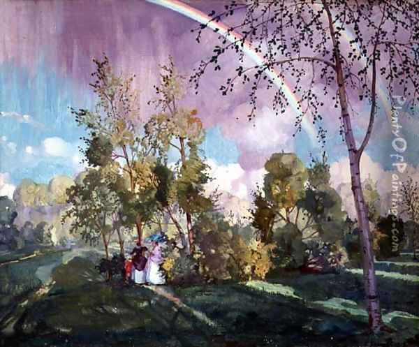 Landscape with a Rainbow, 1919 Oil Painting - Konstantin Andreevic Somov