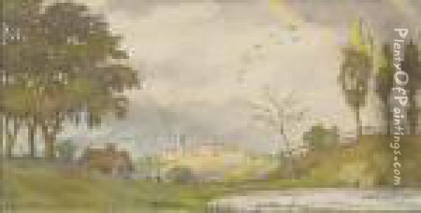 Miniature Landscape With Rainbow Oil Painting - Konstantin Andreevic Somov