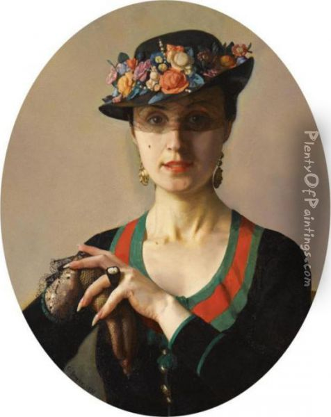 Portrait Of A Lady Oil Painting - Konstantin Andreevic Somov