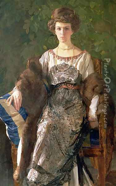 Portrait of Ewfimia Nosova, 1911 Oil Painting - Konstantin Andreevic Somov