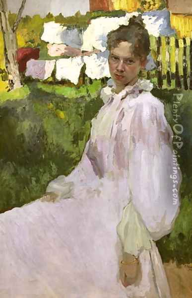 Portrait of Mrs N.F. Ober, 1896 Oil Painting - Konstantin Andreevic Somov