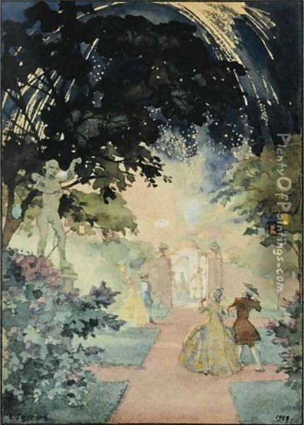 The Fireworks Oil Painting - Konstantin Andreevic Somov