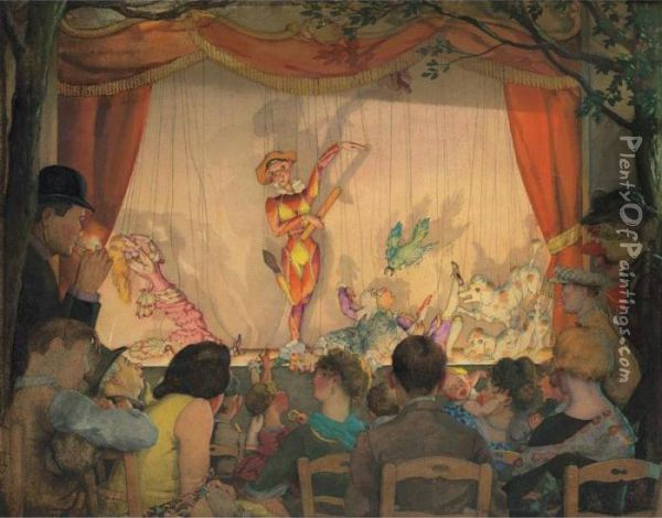 The Puppet Theater Oil Painting - Konstantin Andreevic Somov