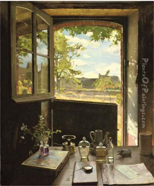 View Through A Window Oil Painting - Konstantin Andreevic Somov