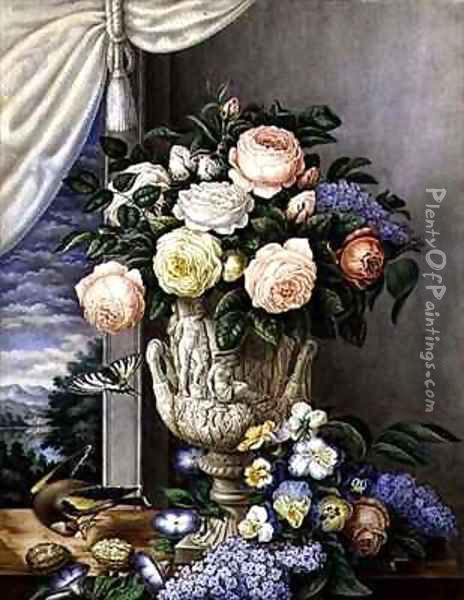 Flowers in a vase on a stone ledge Oil Painting - L. Cugnier