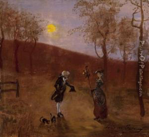 Courtship Oil Painting - Lajos Gulacsy