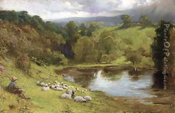 A shepherd resting with his flock by a lake Oil Painting - Lance Calkin