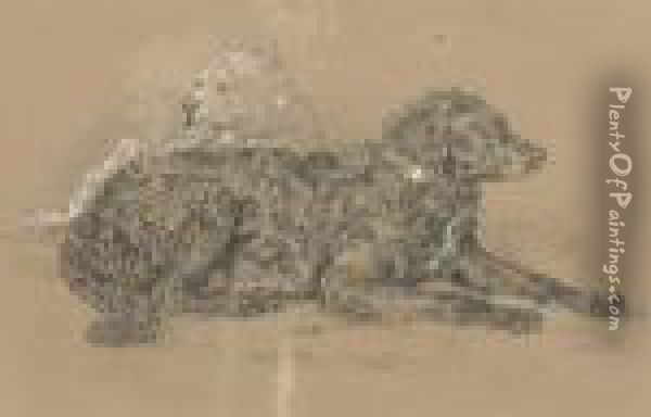Study Of Two Dogs, One Possibly A Water Spaniel Oil Painting - Landseer, Sir Edwin