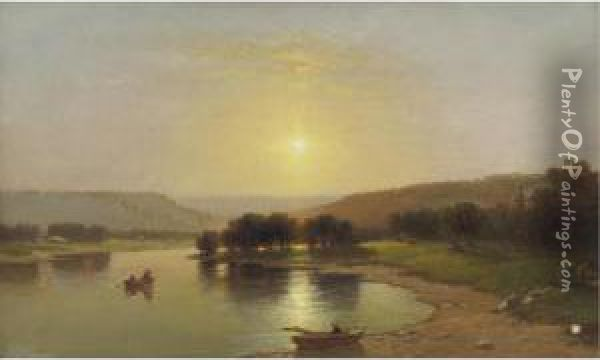 Summer Afternoon, Upper Genesee, New York Oil Painting - Lemuel Maynard Wiles