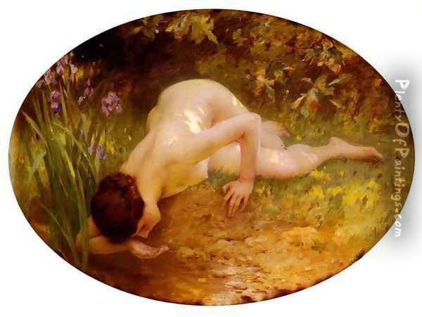La Baigneuse (The Bather) Oil Painting - Lenoir Charles Amable