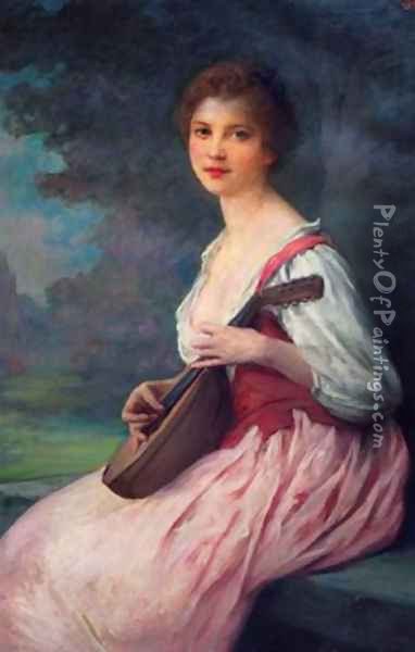 La mandoline (The Mandolin) Oil Painting - Lenoir Charles Amable