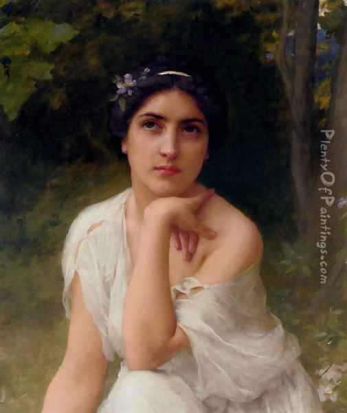 Pensive Oil Painting - Lenoir Charles Amable