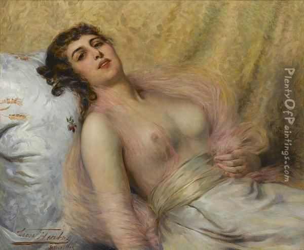 A Reclining Beauty Oil Painting - Leon Herbo