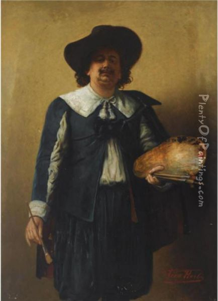 A Selfportrait Of The Artist,  Standing Three Quarter Length, Wearing A 17th Century Style Costume Oil Painting - Leon Herbo