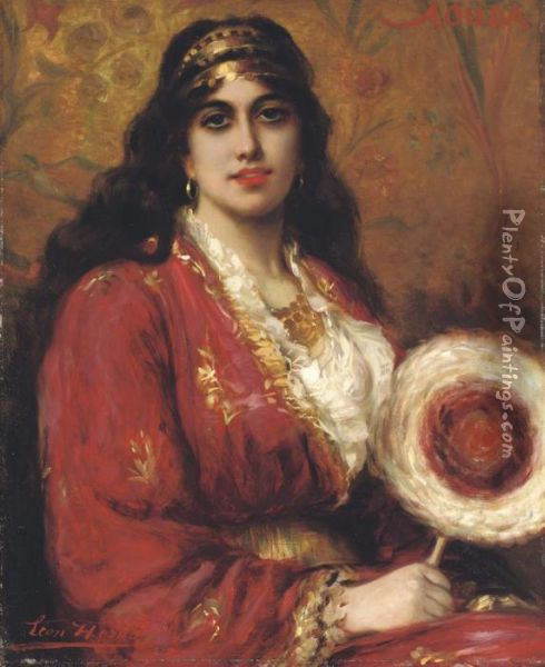 An Oriental Lady Holding A Fan Oil Painting - Leon Herbo