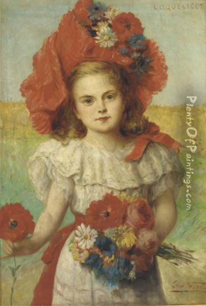 Coquelicot: A Young Girl With Poppies Oil Painting - Leon Herbo
