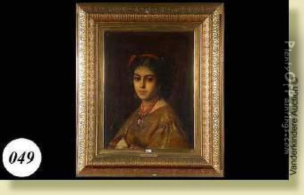 Portrait De Jeune Fille Au Collier Rouge Oil Painting - Leon Herbo