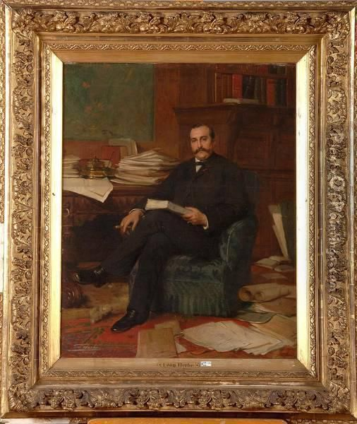 Portrait D'un Notable Assis Dans Son Bureau Oil Painting - Leon Herbo