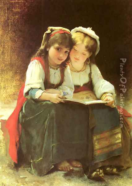 An Interesting Story Oil Painting - Leon-Jean-Basile Perrault