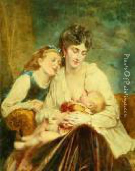 Portrait Of A Mother With Her Children Oil Painting - Leon-Jean-Basile Perrault