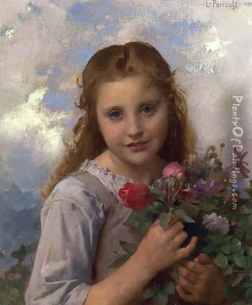 Young Girl with a Bouquet of Flowers Oil Painting - Leon-Jean-Basile Perrault