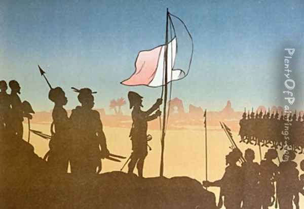 Shadow Play depicting the raising of the French Flag at Fashoda in 1898 Oil Painting - Leon Leroy