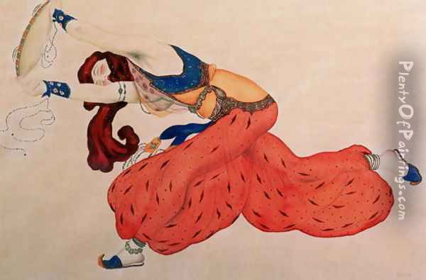 A Study for a figure of a dancer for Scheherazade Oil Painting - Leon Samoilovitch Bakst
