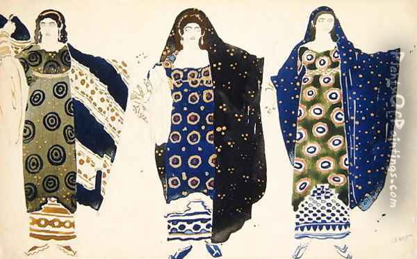 Costume Design for 'Oedipus at Colonus' by Sophocles, 1904 Oil Painting - Leon Samoilovitch Bakst