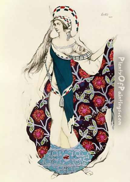 Costume design for a woman, from Judith, 1922 Oil Painting - Leon Samoilovitch Bakst