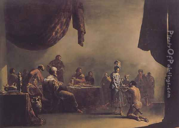 Salome Presented with the Head of St John the Baptist Oil Painting - Leonaert Bramer