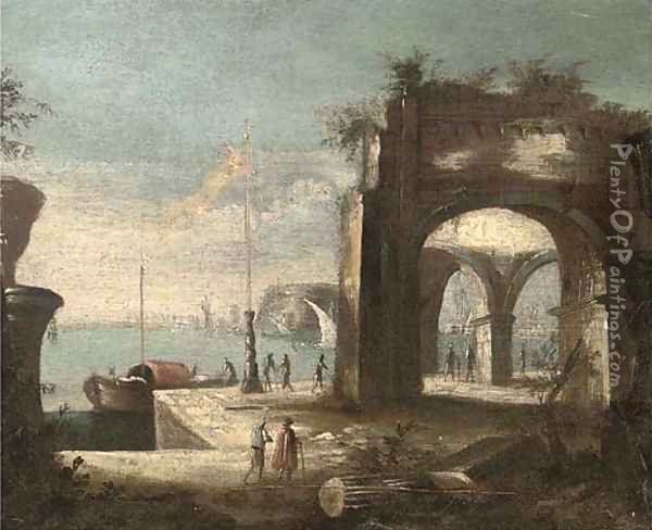 A Mediterranean harbour with shipping and figures on the quay Oil Painting - Leonardo Coccorante