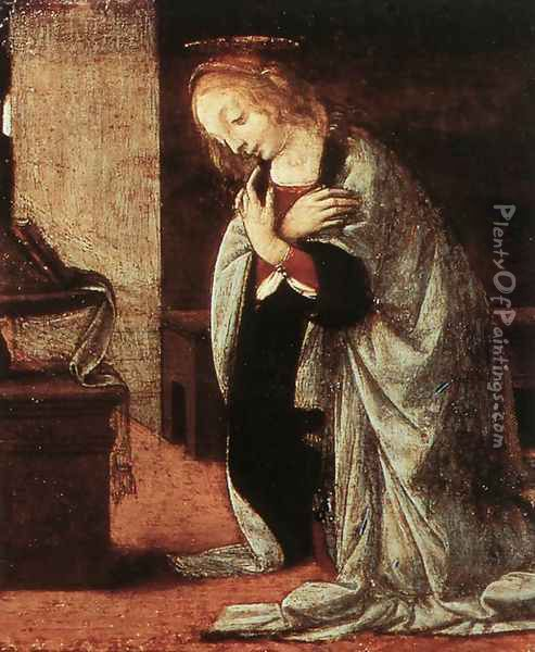 Annunciation (detail 2) 1478-82 Oil Painting - Leonardo Da Vinci