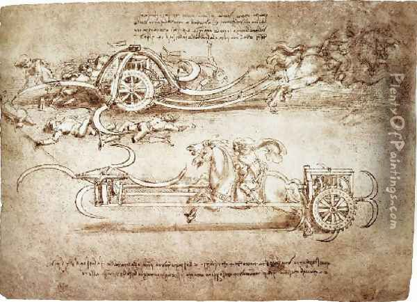 Assault Chariot With Scythes Oil Painting - Leonardo Da Vinci