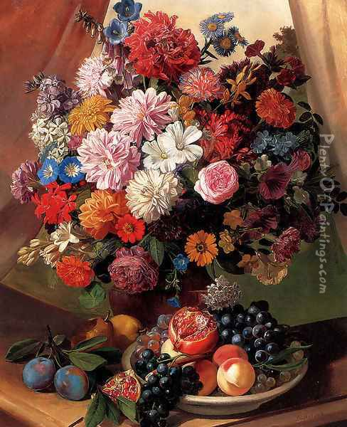 Roses, Morning Glory,Carnations, Peonies and Michaelmas Daisies in a Vase with Peaches, Grapes and a Pomegranate in a Bowl and Pears and Plums on a stone Ledge Oil Painting - Leopold van Stoll