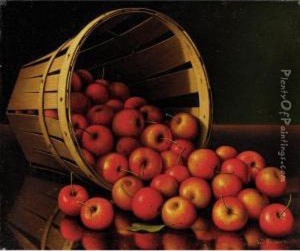 A Basket Of Apples Oil Painting - Levi Wells Prentice