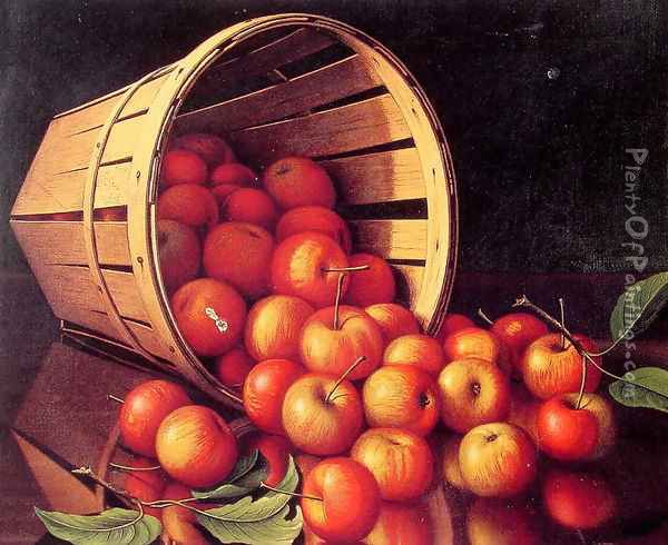 Apples tumbling from a basket Oil Painting - Levi Wells Prentice
