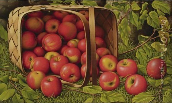 Basket Of Apples 2 Oil Painting - Levi Wells Prentice