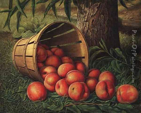 Basket of Peaches 2 Oil Painting - Levi Wells Prentice