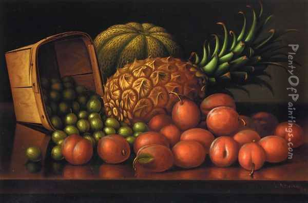 Gooseberries, Plums, Pineapple and Cantaloupe Oil Painting - Levi Wells Prentice