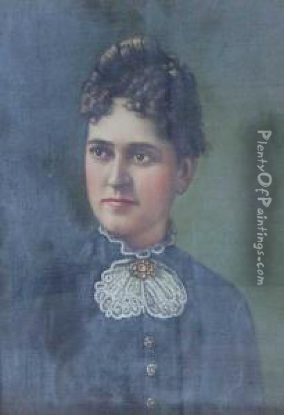 Portrait Of A Young Lady With A White Lace Collar Oil Painting - Levi Wells Prentice
