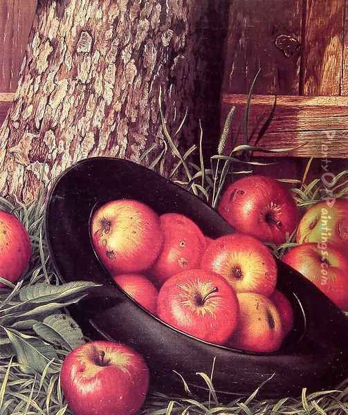 Still Life of Apples in a Hat Oil Painting - Levi Wells Prentice