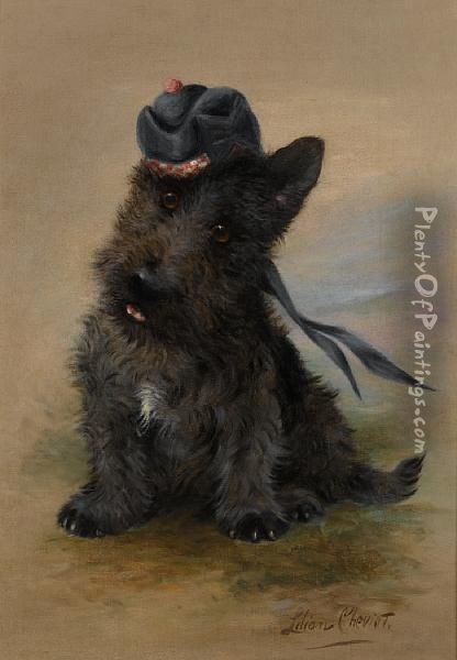 A Black Scottie Oil Painting - Lilian Cheviot