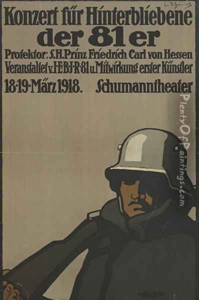 German advertisement for a benefit concert for families of fallen soldiers , printed by Kornsand & Co., Frankfurt, March 1918 Oil Painting - Lina von Schauroth