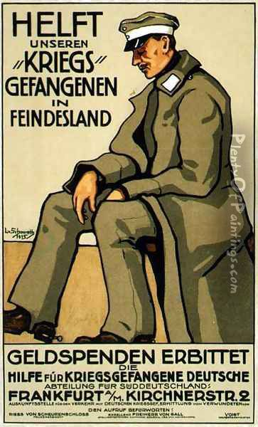 Help our Prisoners of War in Enemy Territory, German poster, 1915 Oil Painting - Lina von Schauroth